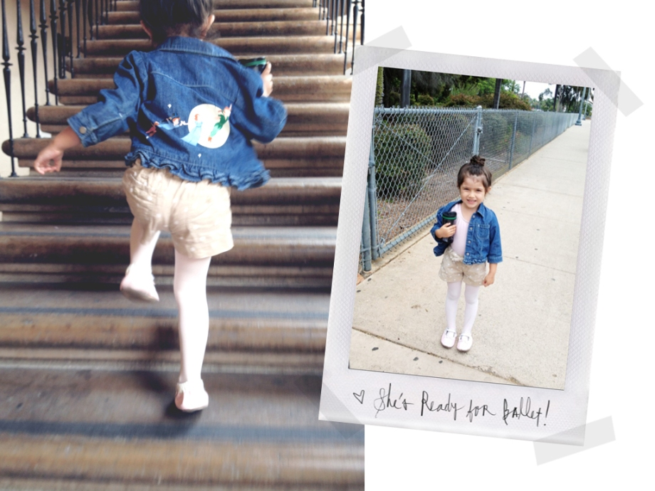 Evie running up the staircase to get to her class on time. Poloroid : She carries her mini-tumbler full of cold water.