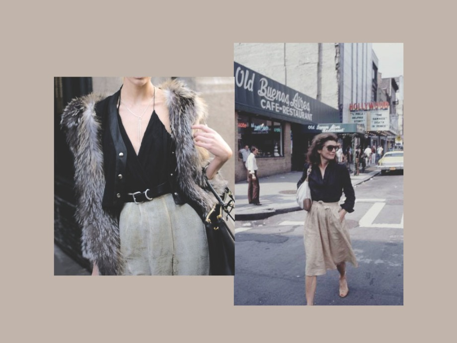 Neutrals + Fur + Circle Skirts + Jackie O